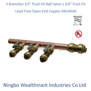 """Lead Free 3 Branches 1/2"""" Push Fit Ball Valves X 3/4"""" Push Fit Open End Copper Manifold pictures & photos"""