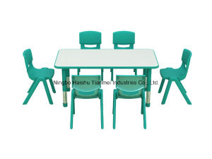 Green Color PP Material Long Square Desk, Childrens Table pictures & photos