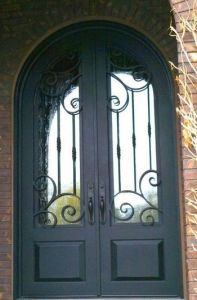 Finished Surface Wrought Iron Double Entry Door pictures & photos