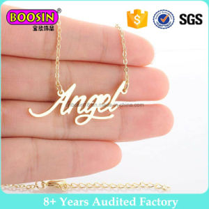 Inspiring Words Custom Metal Logo Charm Gold Jewelry Bar Neckalce with Chain#B109 pictures & photos