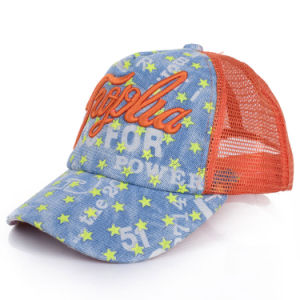 Children Promotional Embroidered Cotton Denim Mesh Baseball Cap (YKY3406) pictures & photos