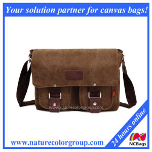 Fashion Designer Washed Canvas Messenger Bags with Genuine Leather (MSB-002) pictures & photos