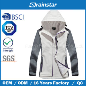 White Waterproof & Windbreaker & Breathable Fleece Jacket with Laser Pocket