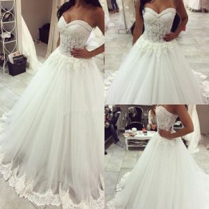 Lace Bridal Ball Gown Beaded Tulle Sweetheart Wedding Dresses Dz2017 pictures & photos