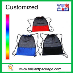Promotional Nylon Mesh Backpack Polyester Drawstring Mesh Bag in Shoe pictures & photos