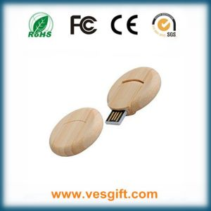 Swivel Wood Round Shape USB Memory Stick with Laser Engrave pictures & photos