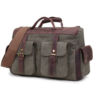 Double Handstraps Travelbag Real Leather Washed Canvas Sport Duffel Bag (RS-PTB617A) pictures & photos