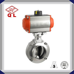 Ss304 Sanitary Butterfly Valve with Pneumatic Actuator Double Acting pictures & photos