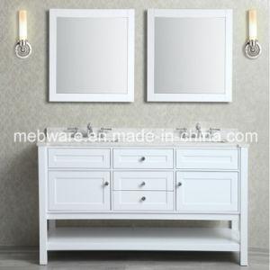 "60"" White Double-Sink Bathroom Vanity Set / Solid Wood Bathroom Vanities pictures & photos"