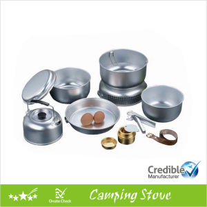 Aluminum Camping Cookware Set with Alcohol Burner pictures & photos