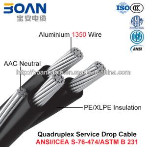 Quadruplex Service Drop Cable, AAC Neutral, Twisted 600 V Quadruplex (ANSI/ICEA S-76-474) pictures & photos