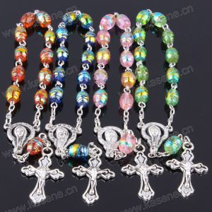 Rose Petal Medal Clear Oval Glass Rosary Bracelet