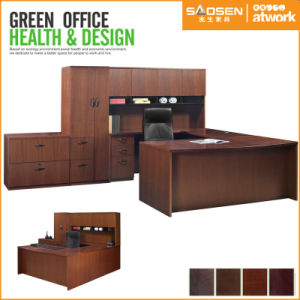 Office Furntiure Veneer U Shaped Executive Desk with Hutch