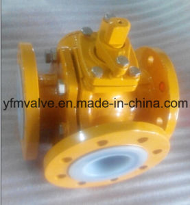 3 Way PFA Lined Ball Valve Flange Type pictures & photos