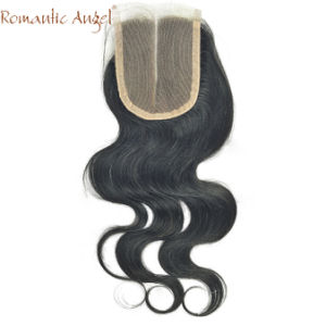 "16"" 4""X4"" 100% Virgin Indian Human Hair Full Hand Tied Lace Closure Deep Wave Curly Middle Part Natural Color pictures & photos"