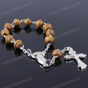 Wholesale Special - Shaped Wooden Beads Rosary Bracelet Rosary Chain Whith Alloy Cross
