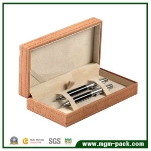 Popular Custom Leather Wrapping Wooden Pen Box for 2 Pens pictures & photos
