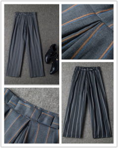 2015 Autumn New Arrival Striped Loose Pants Bowknot Pants Straight Leisure Trouser pictures & photos