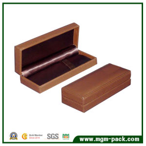 Wholesale Brown Leather Wrapping Wooden Stationery Pen Box pictures & photos