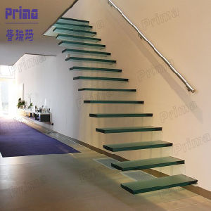 Laminated Glass Interior Floating Staircase Price pictures & photos