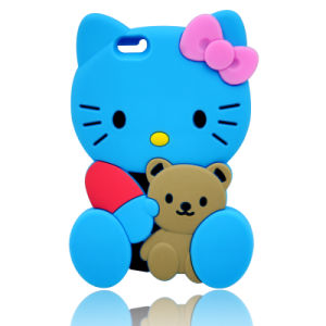 3D Cartoon Kitty Cat Silicone Case for iPhone 6s 6pllus J5 J7prime J2prime (XSK-006)