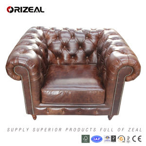 Luxury Heavy Wax Leather Chesterfield Sofa (OZ-SF-007-1) pictures & photos