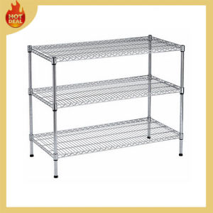 3 Layers Plastic Coated Closet Chrome Wire Shelving pictures & photos