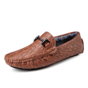 Leather Shoes Warm with Plush Casual Footwear for Men (AK9831-1) pictures & photos