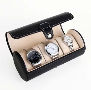 Leather Watch Box for 3 Watches Cylinder Watch Box pictures & photos