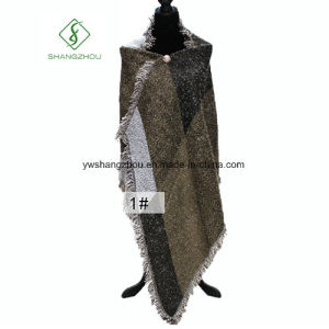 Cashmere Shawl Contrat Color Tassel Big Plaid Warm Lady Fashion Scarf pictures & photos
