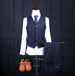 3PCS Blue Strip Made to Measure Men Suit pictures & photos