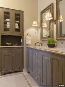 European Grey Shaker Door with Round Crystal Handle Bathroom Vanity pictures & photos