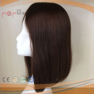 Hand Tied Human Hair Brown Color Poly Around Perimeter Toupee Hair Piece pictures & photos