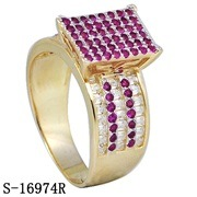 New Designs Micro Pave Setting Ruby Rings 14k Gold Plated pictures & photos