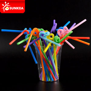 Plastic Drinking Spoon Straws with Spoon pictures & photos