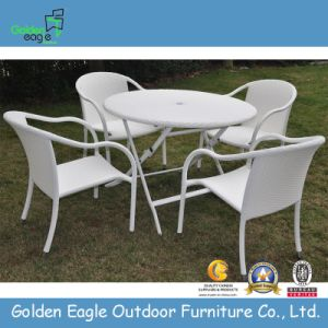 Outdoor Rattan Table with Folding Function