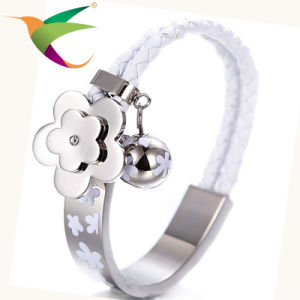 Stlb-17011005 Stainless Steel Plum Leather Bracelet for Woman pictures & photos
