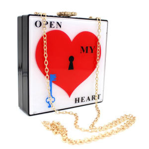 Square Shaped Transparent Acrylic Heart Printed Surface Buckle Design Bags Eb759 pictures & photos