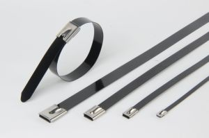 High Tensile Strength Ball Lock Polyester Coated Stainless Steel Cable Tie pictures & photos
