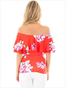 Ruffle off Shoulder Floral Womens Top&Nbsp; pictures & photos