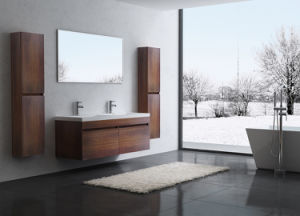 Double Sink Wall Mounted Bathroom Cabinet with Glass Top - Espresso