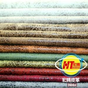 Eco-Friendly Breathable PVC Synthetic Leather for Sofa Furniture (Hongjiu-2033#) pictures & photos