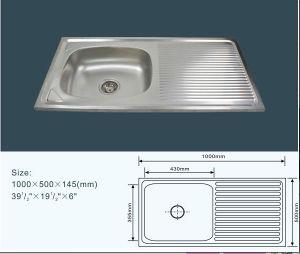 Jnj825 100*50*14.5 Cm Cheap Single Bowl Stainless Steel Kitchen Sink with Drain Board