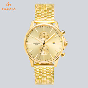 Swiss Men′s Stainless Steel Wrist Watch with Mesh Band 72110 pictures & photos
