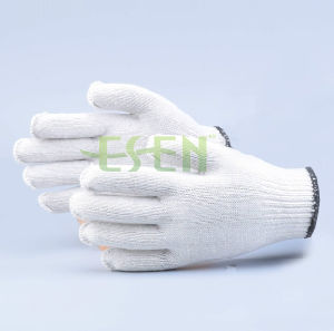 2017 Fashion Knitted Cotton Gloves with Wholesale Price, White Knitted Cotton Gloves for Gardener pictures & photos