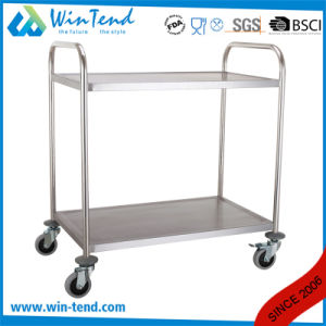 China Manufactory 2 Tiers Round Tube Strong Cargo Transport Trolley with 4 Wheels pictures & photos