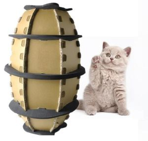 New Type Corrugated Paper Football Cat Scratch Board Toy Football Cat Paper Box Pet Toy pictures & photos