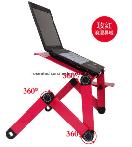 Mini Portable Aluminium Folding Bed Laptop Desk with Fan pictures & photos