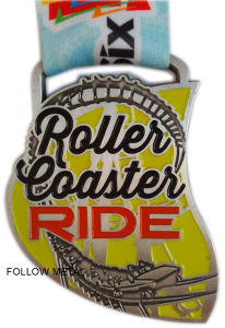 Challenge Award Medal for Roller Coaster Ride, Soft Enamel, Decoration