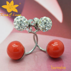 Tmer-001 Red Color 10mm Fashion Tourmaline with Stones Earrings for Women pictures & photos